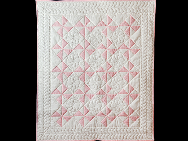 Princess Pink & White Pinwheel Crib Quilt Photo 1