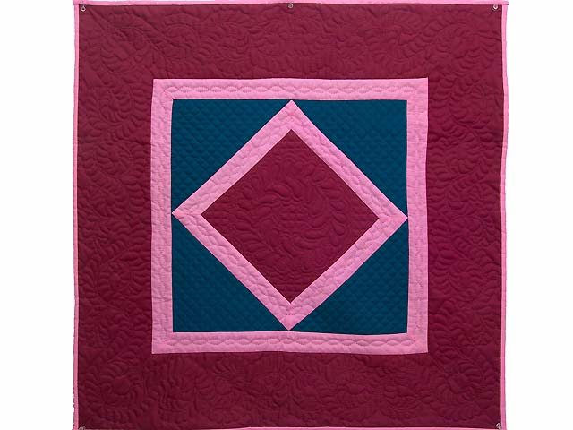 Indiana Amish Cranberry Blue and Pink Center Diamond Wall Hanging Photo 1