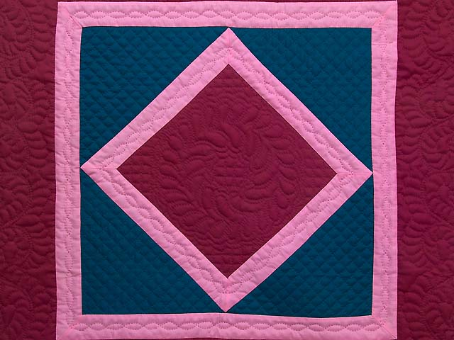 Indiana Amish Cranberry Blue and Pink Center Diamond Wall Hanging Photo 2