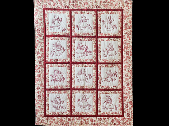 Rich Red & Floral Embroidered Redwork Girls Crib Quilt Photo 1