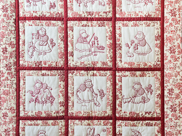 Rich Red & Floral Embroidered Redwork Girls Crib Quilt Photo 2