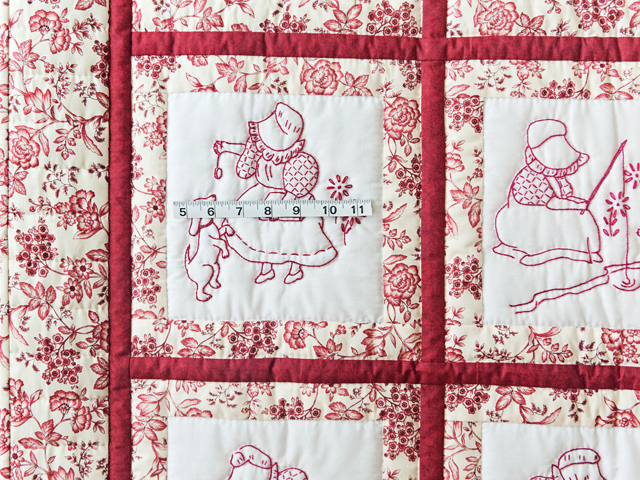 Rich Red & Floral Embroidered Redwork Girls Crib Quilt Photo 3