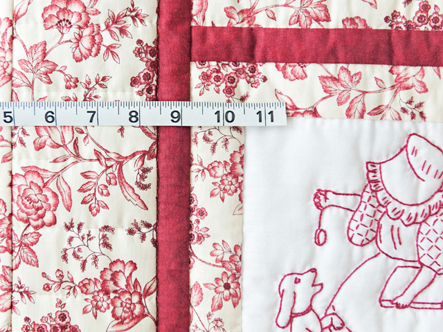 Rich Red & Floral Embroidered Redwork Girls Crib Quilt Photo 4