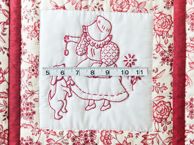 Rich Red & Floral Embroidered Redwork Girls Crib Quilt Photo 5
