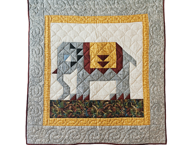 Gray & Gold Delightful Elephant Quilt Photo 1