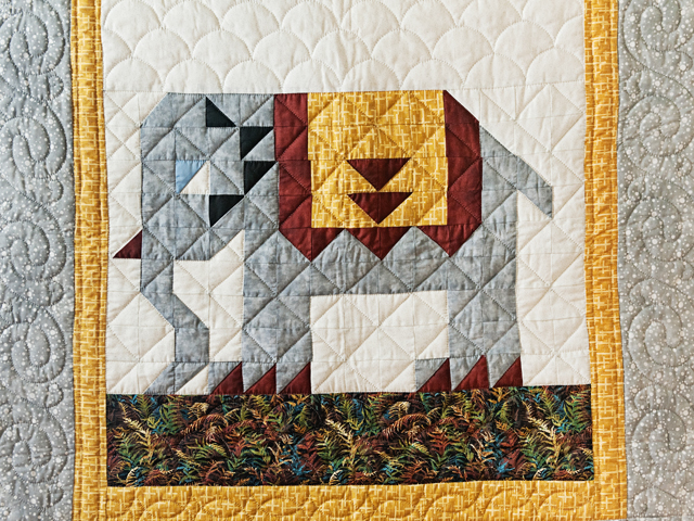 Gray & Gold Delightful Elephant Quilt Photo 2