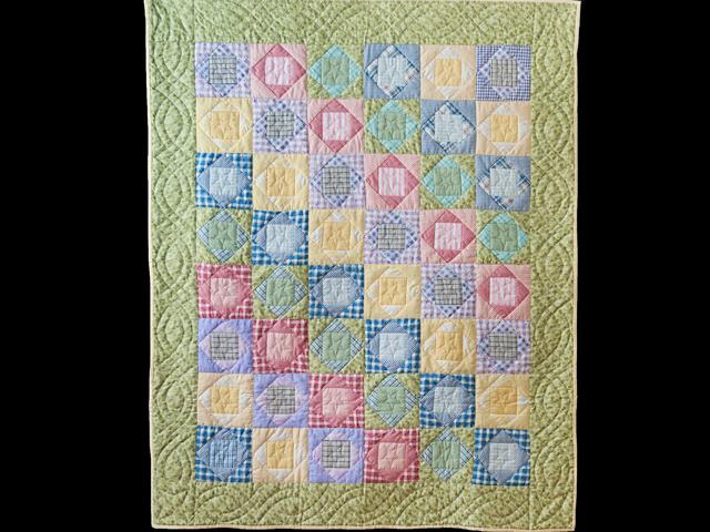 Pastel & Green Square on Square Crib Quilt Photo 1