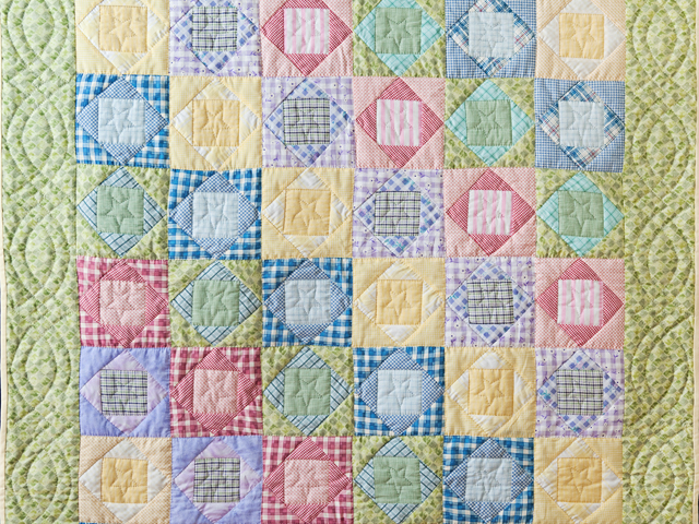 Pastel & Green Square on Square Crib Quilt Photo 2