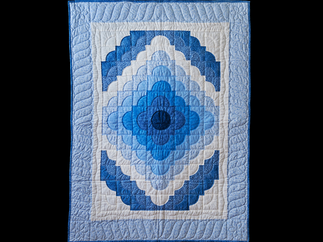 Shades of Blue Ocean Wave Crib Quilt Photo 1