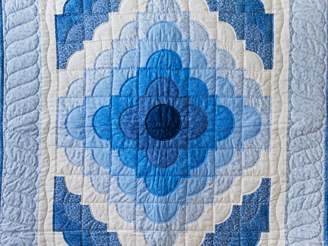 Shades of Blue Ocean Wave Crib Quilt Photo 2