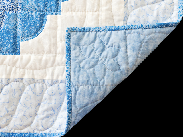 Shades of Blue Ocean Wave Crib Quilt Photo 5