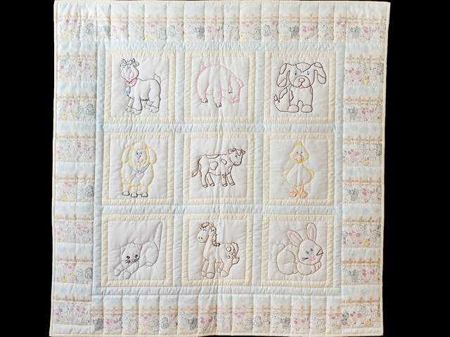 Soft Blue & Cream Embroidered Baby Farm Animals Crib Quilt Photo 1