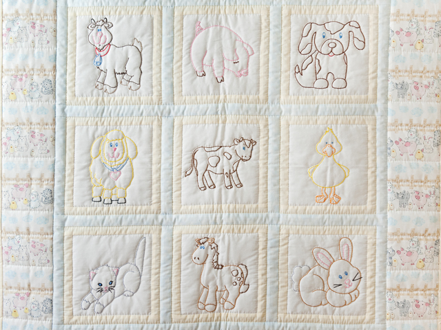 Soft Blue & Cream Embroidered Baby Farm Animals Crib Quilt Photo 2