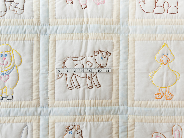 Soft Blue & Cream Embroidered Baby Farm Animals Crib Quilt Photo 3