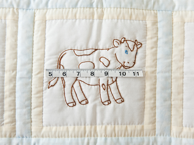 Soft Blue & Cream Embroidered Baby Farm Animals Crib Quilt Photo 5