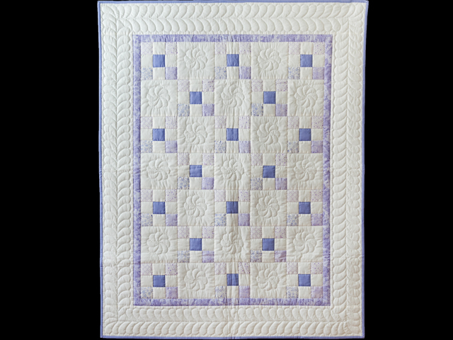 Soft Lavender & White Nine Patch Crib Quilt Photo 1
