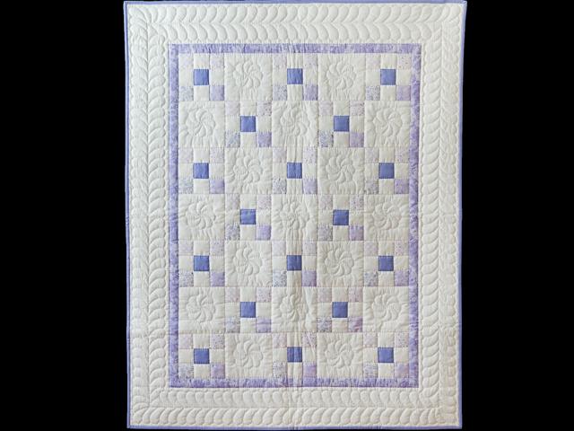 Soft Lavender & White Nine Patch Crib Quilt Photo 1