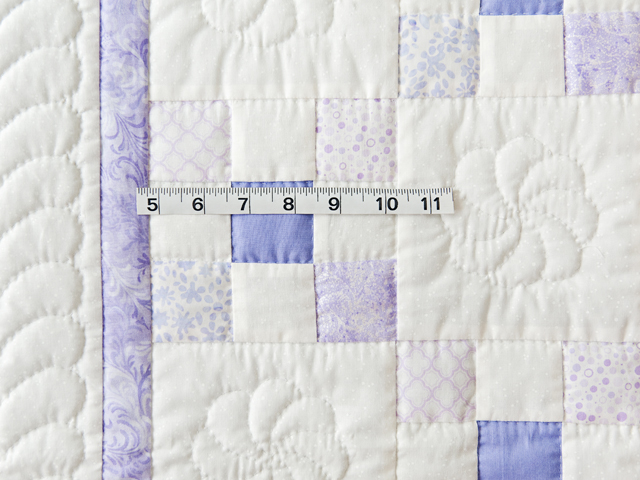 Soft Lavender & White Nine Patch Crib Quilt Photo 5