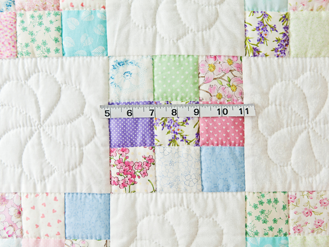 Pastel and White Nine Patch Crib Quilt Photo 5