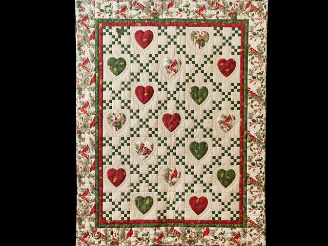 Red, Green & Tan Christmas Cardinals Hearts and Nine Patch Quilt Photo 1