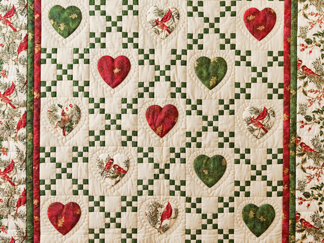 Red, Green & Tan Christmas Cardinals Hearts and Nine Patch Quilt Photo 2