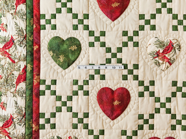 Red, Green & Tan Christmas Cardinals Hearts and Nine Patch Quilt Photo 3