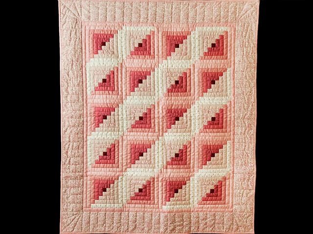 Precious Rose, Pink & Cream Log Cabin Quilt Photo 1