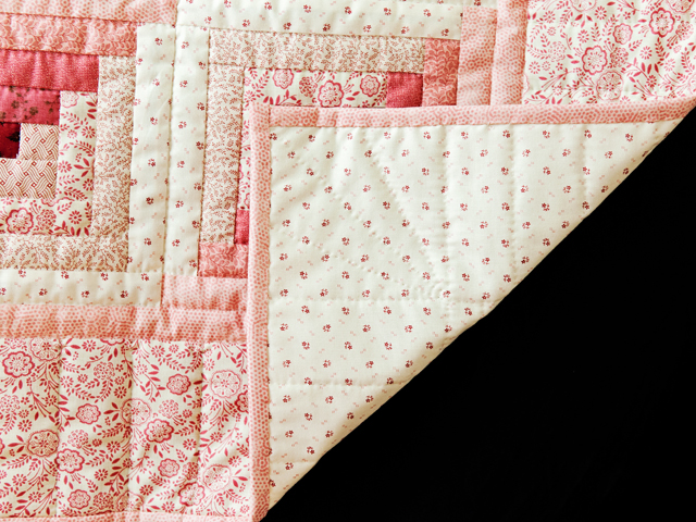 Precious Rose, Pink & Cream Log Cabin Quilt Photo 5