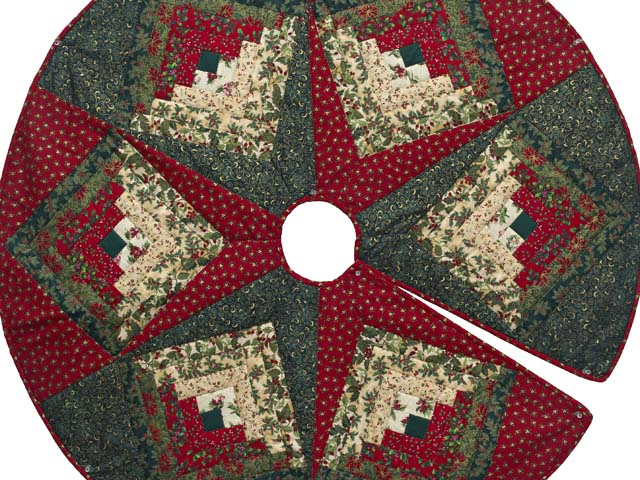 Lone Star Log Cabin Christmas Tree Skirt Photo 2
