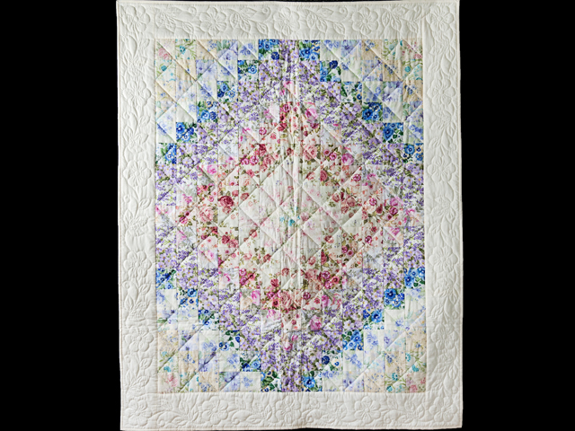 Watercolor Floral Trip Around The World Quilt Photo 1