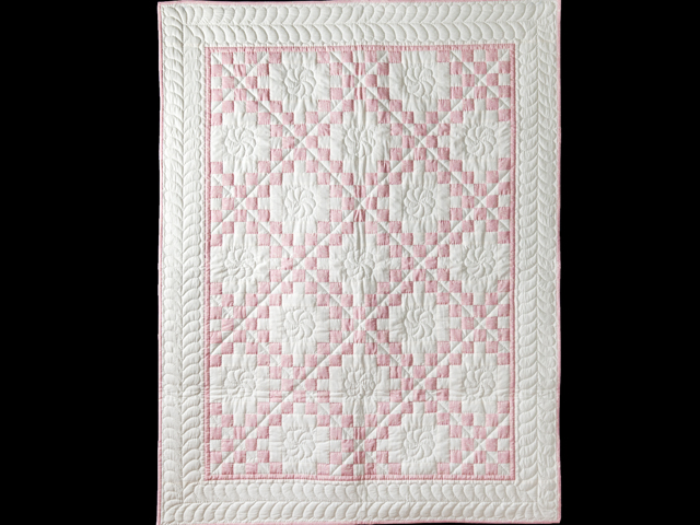 Rose Pink and Natural Irish Chain Quilt Photo 1