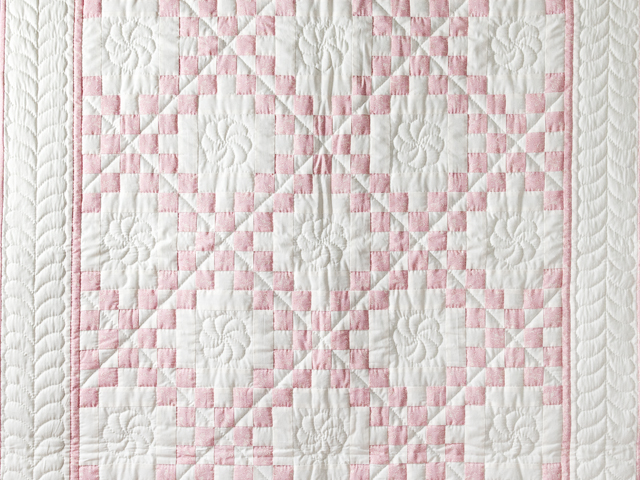 Rose Pink and Natural Irish Chain Quilt Photo 2