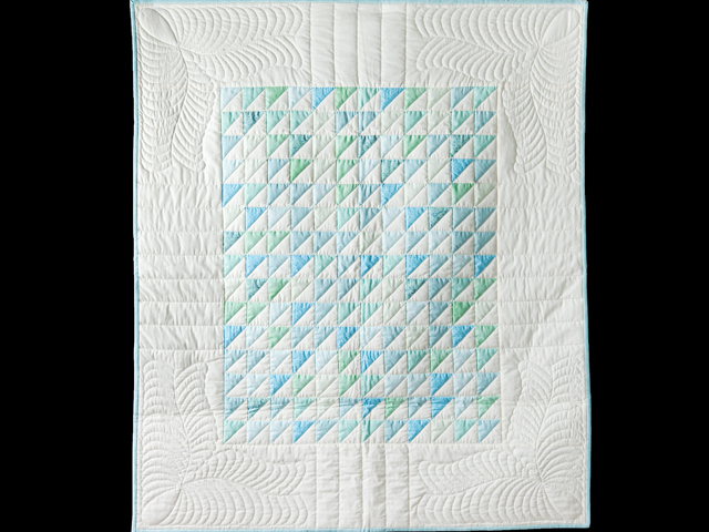 Aqua and Natural Triangle Ocean Wave Quilt Photo 1