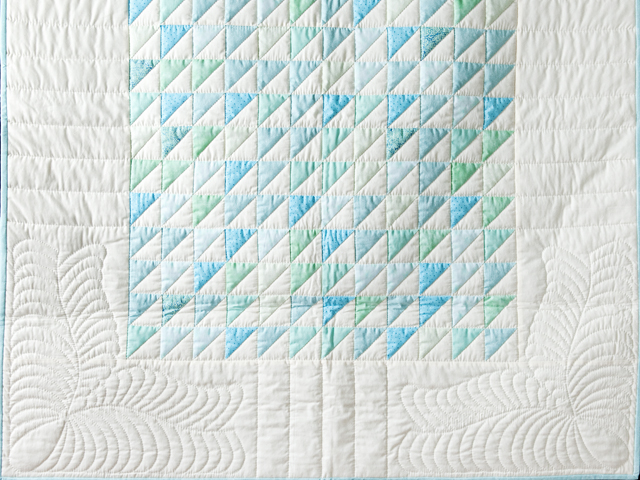 Aqua and Natural Triangle Ocean Wave Quilt Photo 2