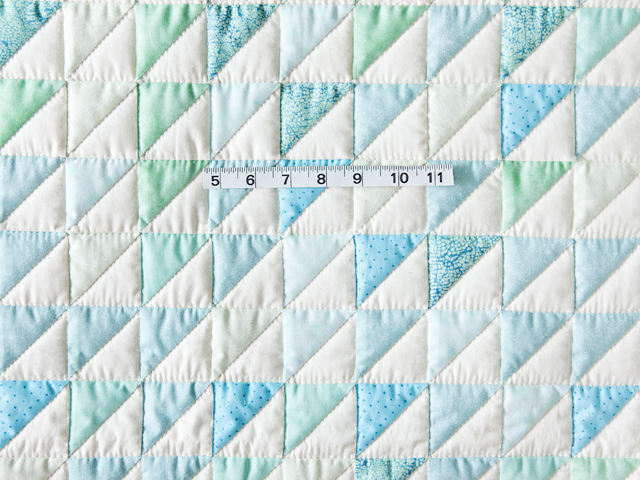 Aqua and Natural Triangle Ocean Wave Quilt Photo 5