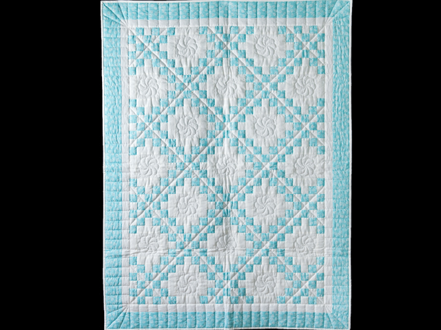 Aqua and White Irish Chain Quilt Photo 1