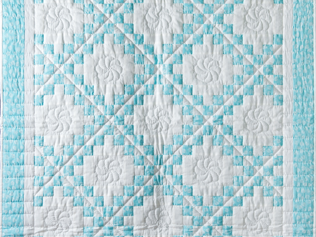Aqua and White Irish Chain Quilt Photo 2