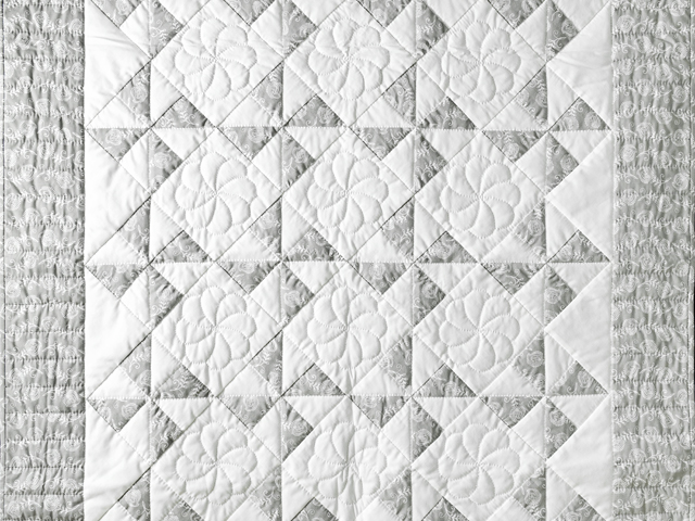Pristine Gray and White Pinwheel Quilt Photo 2