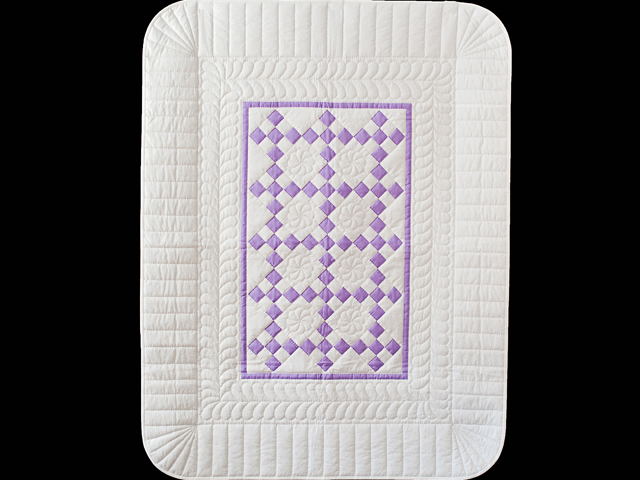 Lavender and White Nine Patch Crib Quilt Photo 1