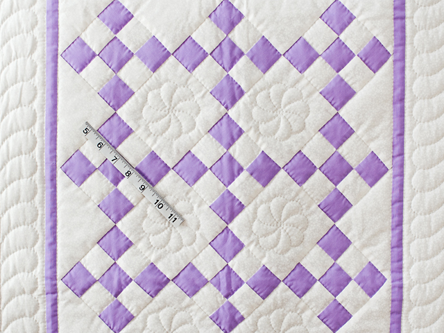 Lavender and White Nine Patch Crib Quilt Photo 3