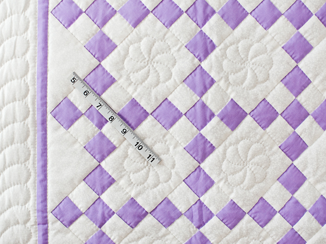 Lavender and White Nine Patch Crib Quilt Photo 5