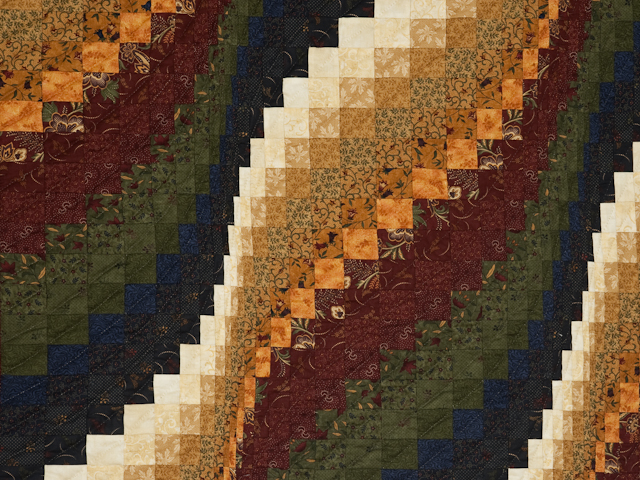 Classic Bargello Wave Navy, Burgundy, Green and Gold Photo 2