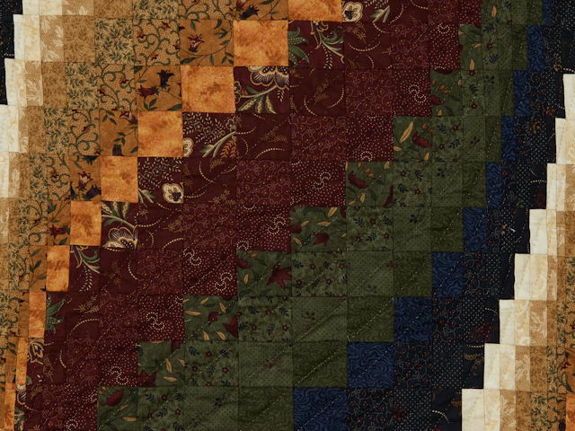 Classic Bargello Wave Navy, Burgundy, Green and Gold Photo 3