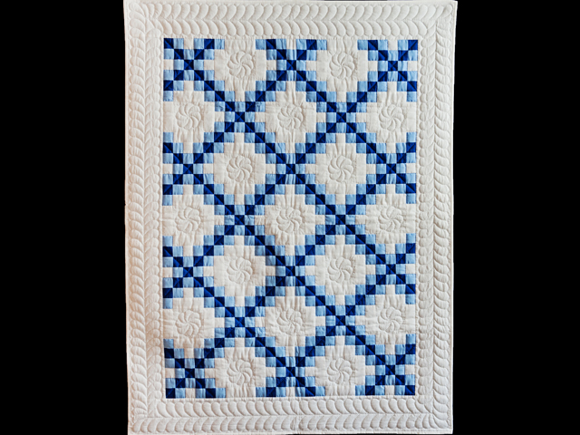 Navy, Blue and White Irish Chain Quilt Photo 1
