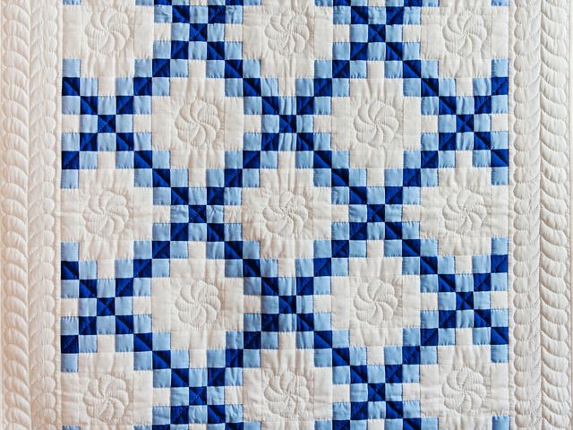 Navy, Blue and White Irish Chain Quilt Photo 2