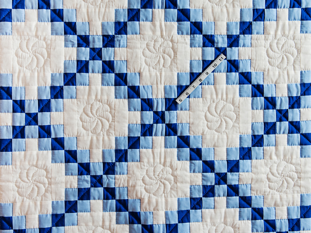 Navy, Blue and White Irish Chain Quilt Photo 3