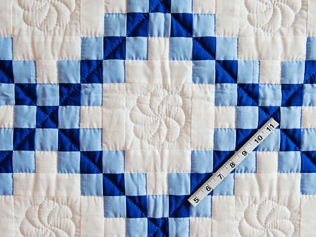 Navy, Blue and White Irish Chain Quilt Photo 5