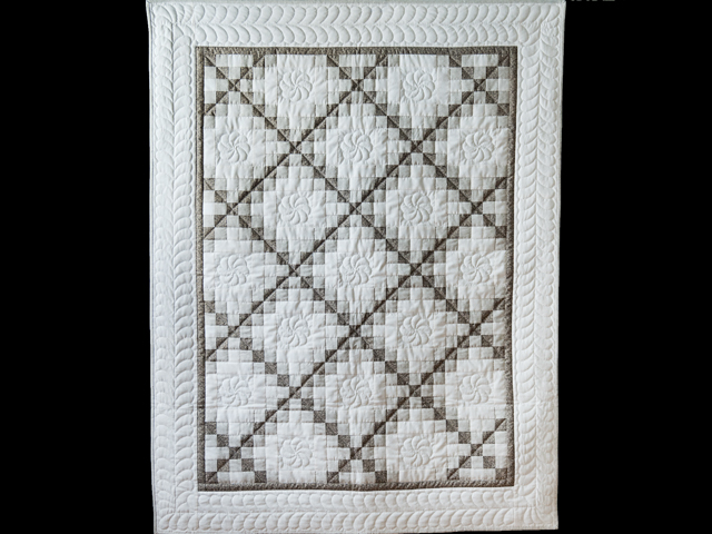 Winter Gray and Natural Irish Chain Quilt Photo 1