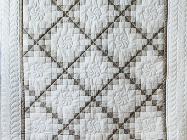 Winter Gray and Natural Irish Chain Quilt Photo 2