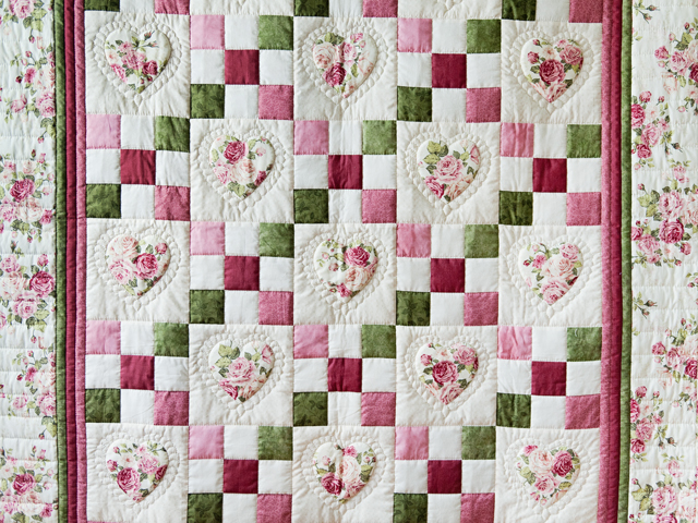 Roses, Pink and Green Hearts and Nine Patch Quilt Photo 2